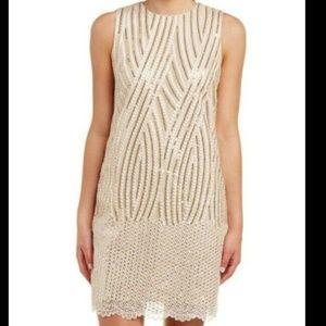 Badgley Mischka Gold Sequin Sheath Dress NWT